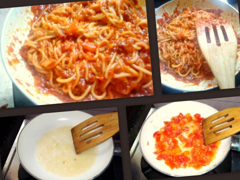 spaghetti, before and after